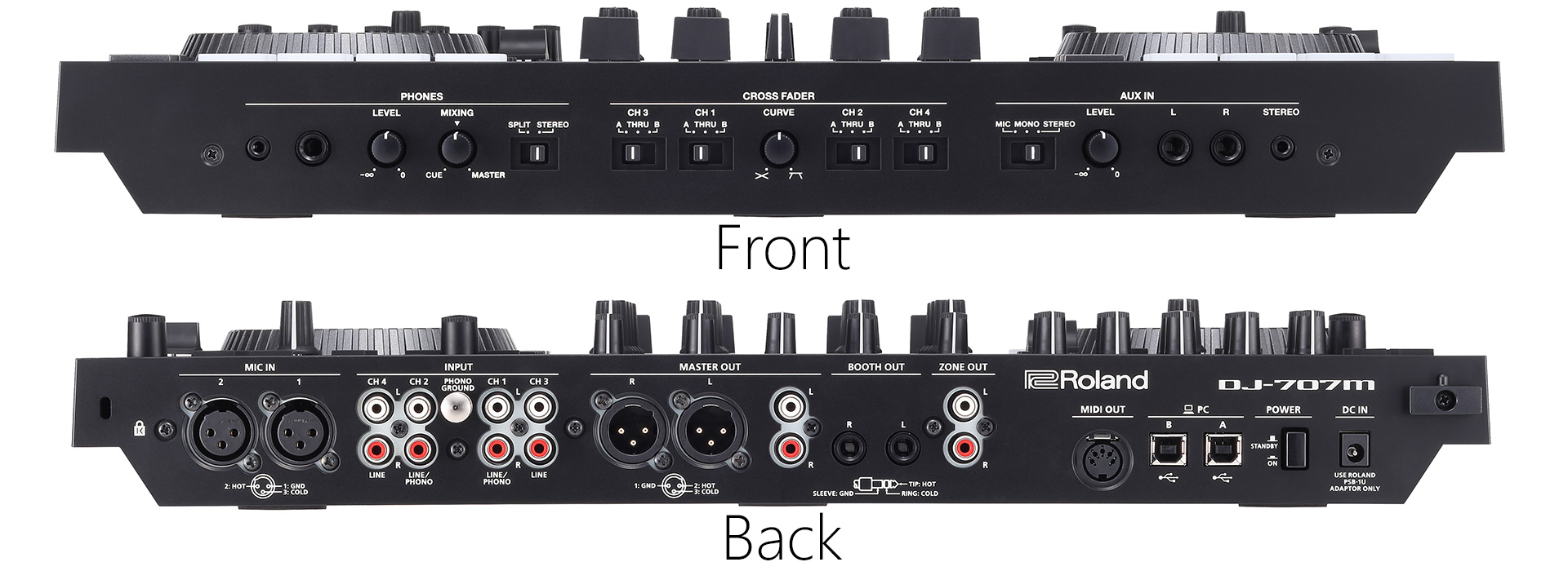 ROLAND DJ-707M Controller Dj Front - Rear